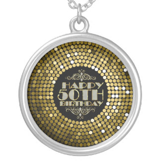 Glamorous Glitter Happy 50th Birthday Silver Plated Necklace