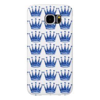 Glamorous Glittery Blue Crown Samsung Phone Case Samsung Galaxy S6 Cases