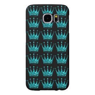 Glamorous Glittery Teal Crown Samsung Phone Case Samsung Galaxy S6 Cases