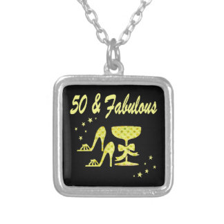 GLAMOROUS GOLD 50 AND FABULOUS BIRTHDAY SILVER PLATED NECKLACE