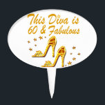"""GLAMOROUS GOLD 60TH BIRTHDAY CAKE TOPPER<br><div class=""""desc"""">This awesome 60 year old shoe queen will dazzle and shine with these trendy and chic gold high heeled birthday design on Tees and Gifts. Surprise your fashion forward 60 year old Birthday Girl with this 60 and fabulous customized birthday gift that she will adore and fall in love with....</div>"""
