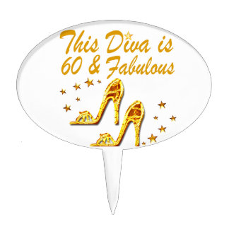 GLAMOROUS GOLD 60TH BIRTHDAY CAKE TOPPER