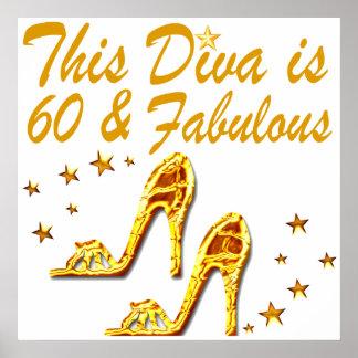 GLAMOROUS GOLD 60TH BIRTHDAY POSTER