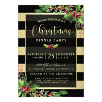 Glamorous Gold & Black Christmas Party Invitation