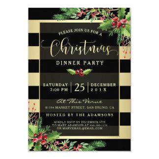 Glamorous Gold & Black Christmas Party Invitation