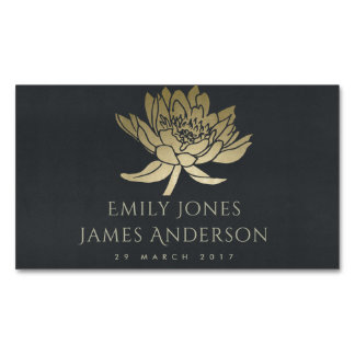 GLAMOROUS GOLD BLACK LOTUS FLORAL SAVE THE DATE MAGNETIC BUSINESS CARD