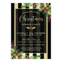 Glamorous Gold & Black Stripe Holiday Party Invite