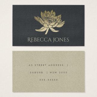 GLAMOROUS GOLD BLUE BLACK LOTUS FLORAL  ADDRESS BUSINESS CARD