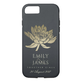 GLAMOROUS GOLD BLUE BLACK LOTUS SAVE THE DATE GIFT iPhone 8/7 CASE