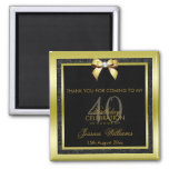 Glamorous Gold Bow & Black Glitter 40th Birthday Magnet