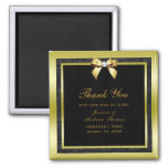 Glamorous Gold Bow & Black Glitter Wedding Magnet