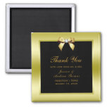 Glamorous Gold Bow & Black Wedding Magnet