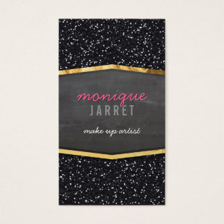 GLAMOROUS gold chalkboard panel glitter cool black Business Card