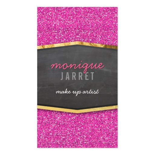 Makeup artist business card templates page59 bizcardstudio glamorous gold chalkboard panel glitter pink business card template accmission Image collections