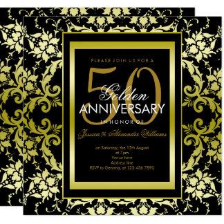 Glamorous Gold Damask 50th Wedding Anniversary Card