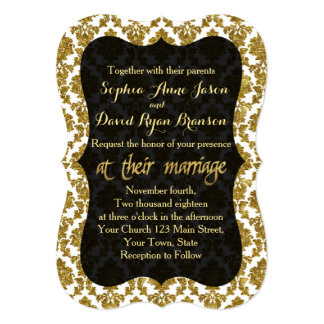 Glamorous Gold Damask Gold Foil Wedding Invitation