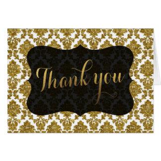 Glamorous Gold Damask Gold Foil Wedding THANK YOU Card