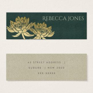 GLAMOROUS GOLD DARK GREEN  LOTUS FLORAL  ADDRESS MINI BUSINESS CARD