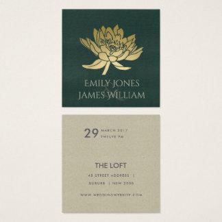 GLAMOROUS GOLD DARK GREEN  LOTUS FLORAL WEDDING SQUARE BUSINESS CARD