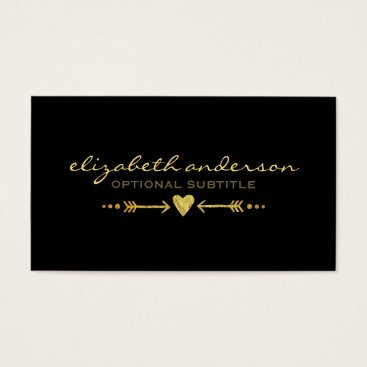 Professional Business Glamorous Gold Faux Glitter - Heart & Arrows Motif Business Card