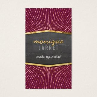 GLAMOROUS gold foil art deco sunburst maroon red Business Card