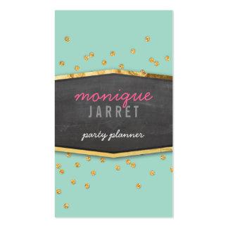 GLAMOROUS gold foil glitter confetti mint green Business Card Template