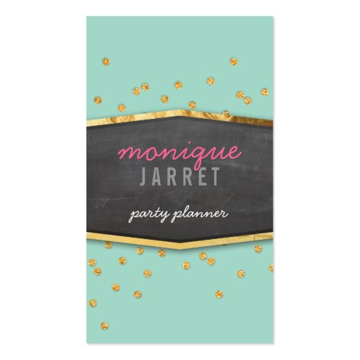 GLAMOROUS gold foil glitter confetti mint green Business Card Template