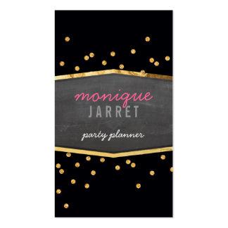 GLAMOROUS gold foil glitter confetti modern black Business Card