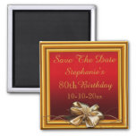 Glamorous Gold Frame & Faux Bow 80th Birthday 2 Inch Square Magnet