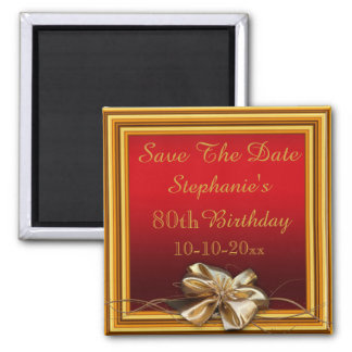 Glamorous Gold Frame & Faux Bow 80th Birthday Magnet