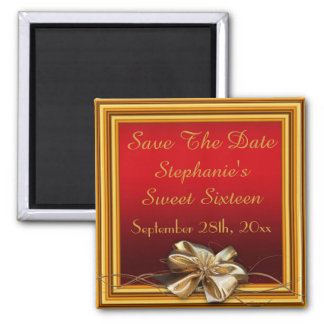 Glamorous Gold Frame & Faux Bow Sweet Sixteen 2 Inch Square Magnet