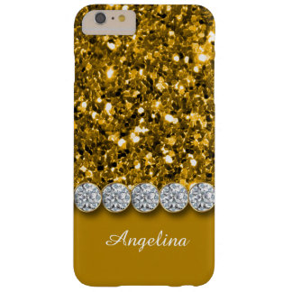 Glamorous Gold Glitter And Sparkly Diamonds Case Barely There iPhone 6 Plus Case