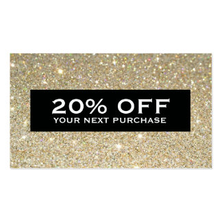 Glamorous Gold Glitter Modern Beauty Coupon Card Double-Sided Standard Business Cards (Pack Of 100)