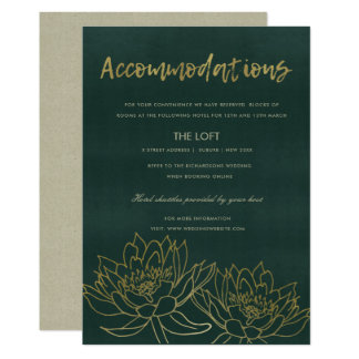 GLAMOROUS GOLD GREEN LOTUS FLORAL ACCOMMODATION CARD
