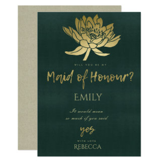 GLAMOROUS GOLD GREEN LOTUS FLORAL MAID OF HONOUR CARD