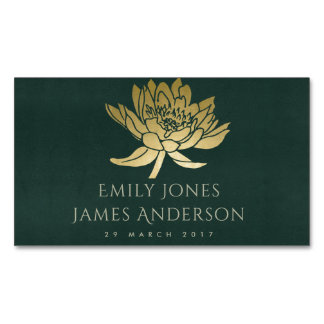 GLAMOROUS GOLD GREEN LOTUS FLORAL SAVE THE DATE BUSINESS CARD MAGNET