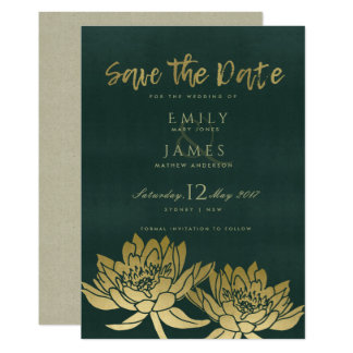 GLAMOROUS GOLD GREEN LOTUS FLORAL SAVE THE DATE CARD
