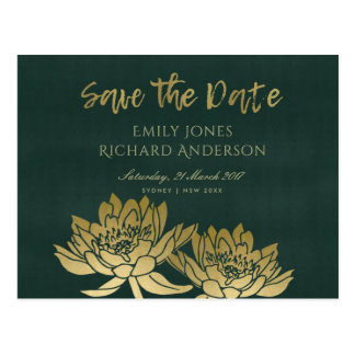 GLAMOROUS GOLD GREEN LOTUS FLORAL SAVE THE DATE POSTCARD