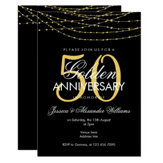 Glamorous Gold Lights 50th Wedding Anniversary Card