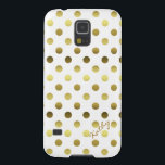 "Glamorous Gold Polka Dot Samsung Galaxy S5 Case<br><div class=""desc"">Protect your Samsung Galaxy S5,  in style,   with this elegant white and gold tone case.  Graphics of gold tone polka dots,  on a white background covers this fun yet glamorous case.  Personalize the text,  on the bottom left,  for yourself or as a great gift idea.</div>"