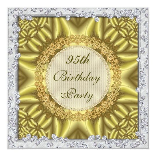 Glamorous Gold Silver 95th Birthday Party Invitation