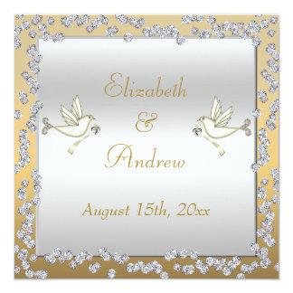 Glamorous Gold & Silver Diamonds & Doves Wedding Card