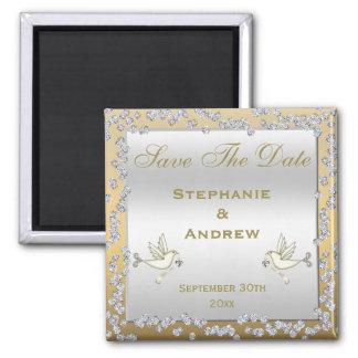 Glamorous Gold & Silver Diamonds & Doves Wedding Refrigerator Magnets