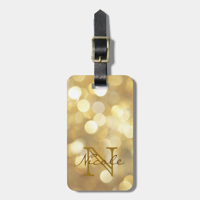 Glamorous Gold Sparkles Monogram Luggage Tag