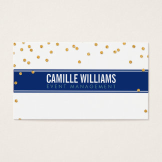 GLAMOROUS gold sparkly glitter confetti navy blue Business Card