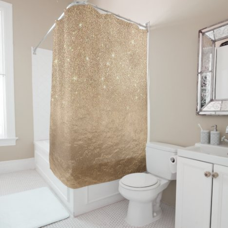 Glamorous Gold Sparkly Glitter Foil Ombre Gradient Shower Curtain