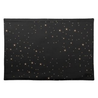 Glamorous Gold Stars on Black Background Placemat