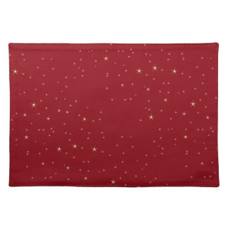 Glamorous Gold Stars (red) Cloth Placemat