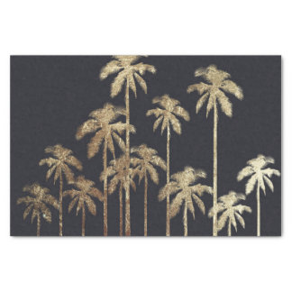 """Glamorous Gold Tropical Palm Trees on Black 10"""" X 15"""" Tissue Paper"""