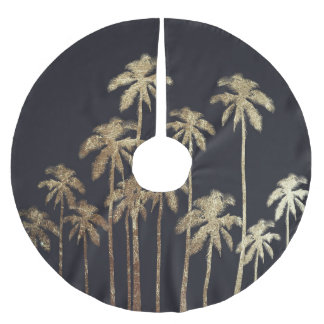 Glamorous Gold Tropical Palm Trees on Black Brushed Polyester Tree Skirt